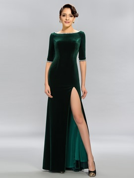 Modern Mermaid Bateau Half Sleeves Split-Front Evening Dress