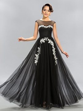 Terrific A-Line Bateau Sheer Neck Appliques Evening Dress