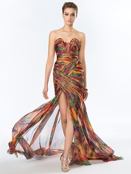 Sexy Strapless Printed Split Front Evening Dress