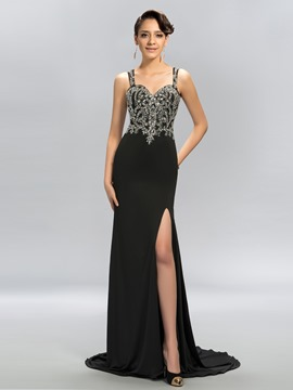 Sexy Trumpet Straps Tulle Crystal Evening Dress