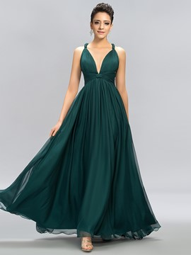 Sexy V-Neck Straps Criss-coss Back A-Line Evening Dress