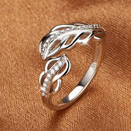 Ericdress Hollow Feather Diamond Ring