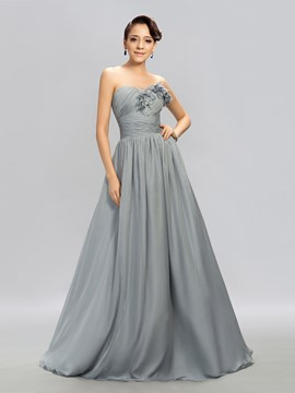 Graceful A-Line Sweetheart Pleats Evening Dress