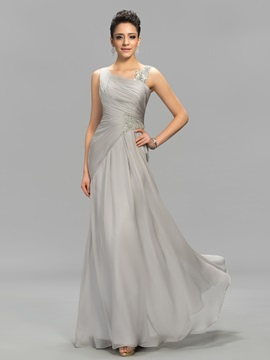 Concise Straps Beading Zipper-Up A-Line Floor Length Evening Dress
