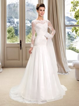 Bateau Lace Long Sleeves Wedding Dress