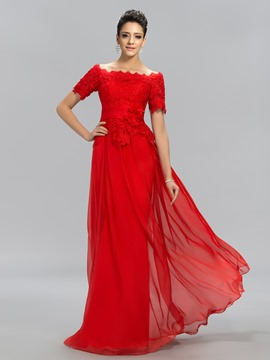 Off-the-Shoulder Floor-Length Evening Dress