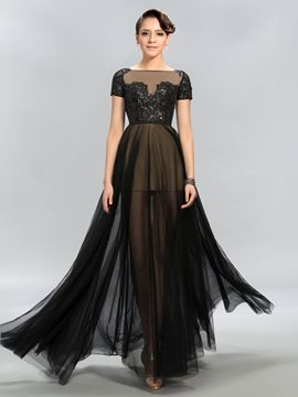 A-Line Appliques Short Sleeves Evening Dress