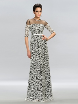 Sexy Jewel A-Line Half Sleeves Evening Dress
