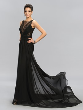 Appliques Sheath Sheer Back Evening Dress