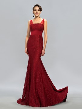 Sexy Lace Mermaid/Trumpet Sweep/Brush Train Evening Dress