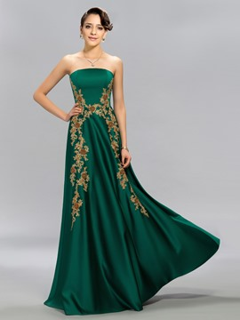 Strapless A-line Beadings Floor-Length Evening Dress