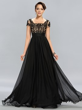 Vintage Tulle Neckline Appliques Short Sleeves Long Evening Dress