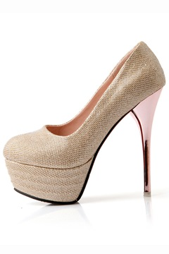 Noble Glitter Solid Color Platform Pumps