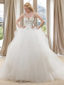 Beaded Spaghetti Straps Sweetheart Ball Gown Wedding Dress