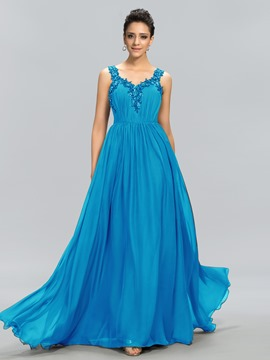 ConciseV-Neck Beading Applique A-Line Floor Length Evening Dress