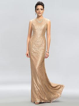 Glamorous Sleeveless Sheath Floor-Length Evening Dress