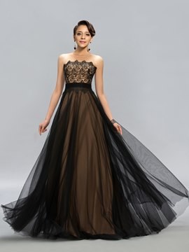 Lace Scoop A-Line Floor Length Evening Dress