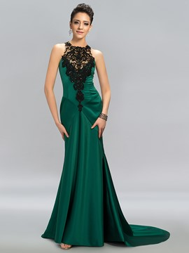 Graceful Jewel Neck Appliques Sequins Backless Evening Dress