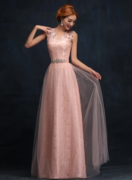 Ericdress V-Neck Lace Long Bridesmaid Dress