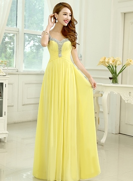Straps Beading Sweetheart Neckline A-Line Floor Length Prom Dress