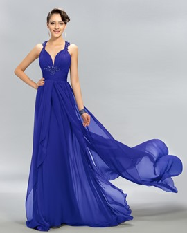 Halter Beading Watteau Train A-Line Evening Dress