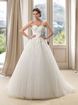 Strapless Sweetheart Floor Length A Line Wedding Dress