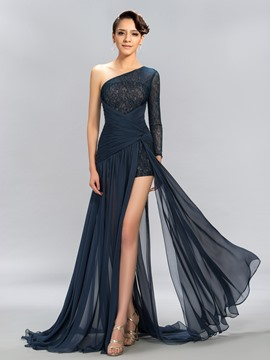 One-Shoulder Spitzenkleid Split Front-Abend