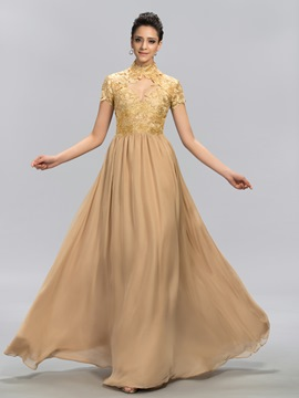 Noble A-Line High-Neck Short Sleeves Floor-Length Evening Dress