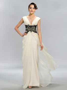 Simple A-Line V-Neck Appliques Floor-Length Evening Dress