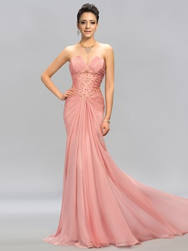 Graceul Strapless Trumpet Beading Pleats Long Evening Dress