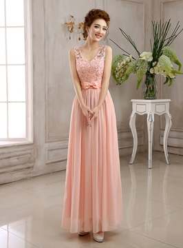 Ericdress Pretty V-Neck Lace Long Bridesmaid Dress