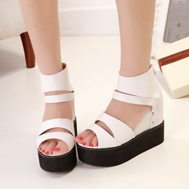 Ericdress Roman Hollow-outs Wedge Sandals with Rivets