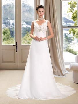 V-Neck Beading A-Line Wedding Dress