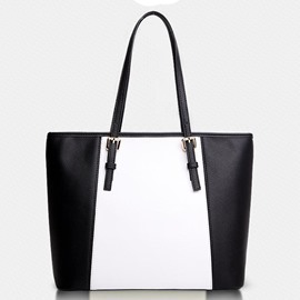 Color Block Buckle-Decorated Tote Bag