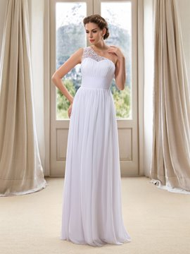 Ericdress Simple One Shoulder A Line Chiffon Wedding Dress