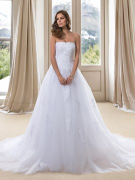 Dramatic Strapless Applqiues Sequins Lace-up Long Wedding Dress