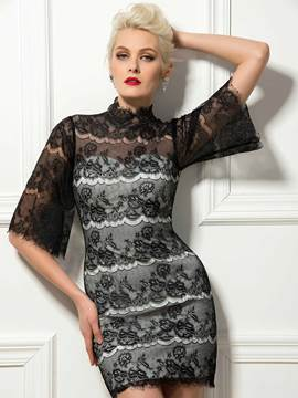 Charming High Neck Black Lace Bat Short Sleeve Cocktail Dress
