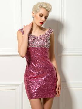 Sexy V-Neck Beaded Shiny Sequin Cocktail Dress