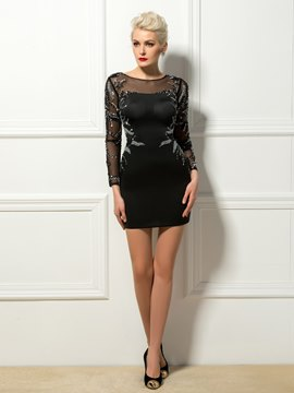 Sexy Beading Long Sleeves Column Short Cocktail Dress
