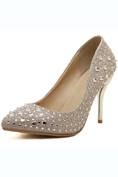 Rhinestone Studded Pointed Toe Pumps