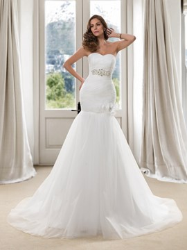 Charming Trumpet Sweetheart Sequins Ruched Lace-Up Wedding Dress