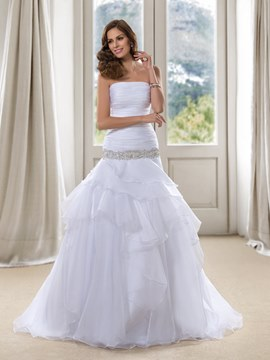 Strapless Ruched Trumpet White Wedding Dress