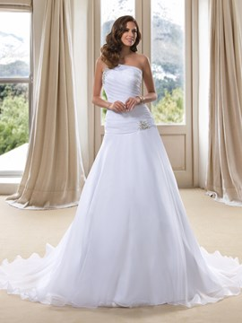 Noble A-Line One-Shoulder Applique Beaded Wedding Dress