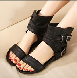 Cool Black Flat Sandals with Buckle