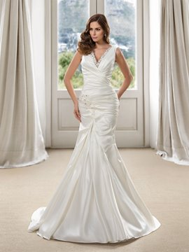Charming V-Neck Beading Mermaid Sweep/Brush Train Wedding Dress