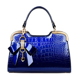 Color Block Embossing Handbag