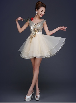 Ericdress Glittering V-Neck A-Line Appliques Sequins Short Prom Dress