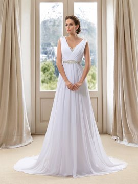 Ericdress Simple V Neck Beaded Backless A Line Wedding Dress