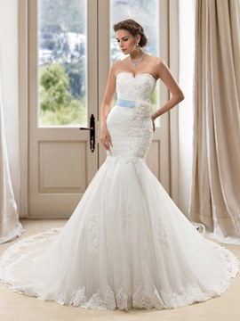 Amazing Sweetheart Handmade Mermaid Wedding Dress