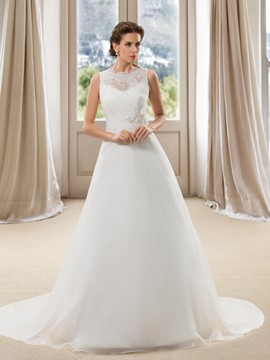 Incredible Sleeveless Bowknot Button A-Line Wedding Dress